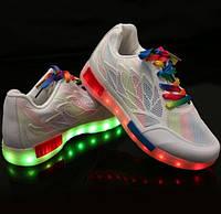 Светящиеся кроссовки Радуга, разноцветные LEDKED Rainbow White взрослые