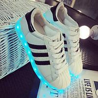 Светящиеся кроссовки с LED подсветкой, цвет белый LEDKED Superstar White взрослые, фото 1