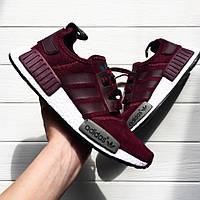 Женские кроссовки в стиле Adidas NMD Runner замша бордовые, фото 1