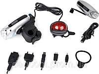 Велосипедный фонарик EG-PC-005 с зарядным устройством для мобильной электроники.