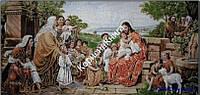Картина - Христос благословляет детей. Гобелен в раме  (размер 580*1080)