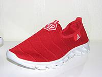 Тканевые кеды кроссовки, мокасины красные на резиновой подошве