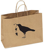 Бумажный пакет с логотипом из бурого крафта 240х290х100
