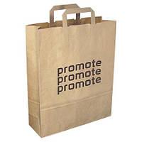 Бумажный пакет с логотипом из бурого крафта 370х250х80