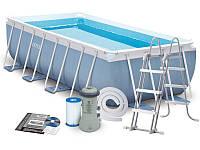 Бассейн каркасный intex 28316 (400Х200Х100 СМ) + фильтр-насос + лестница