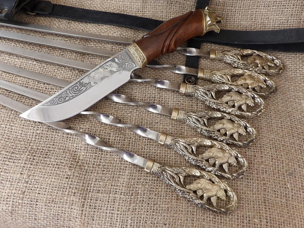 Набор шампуров «Медведь» с ножом