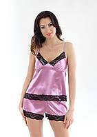 Пижама женская: атлас+кружево, пижама: маечка на бретелях и шортики. Разные цвета, размеры в Украине.