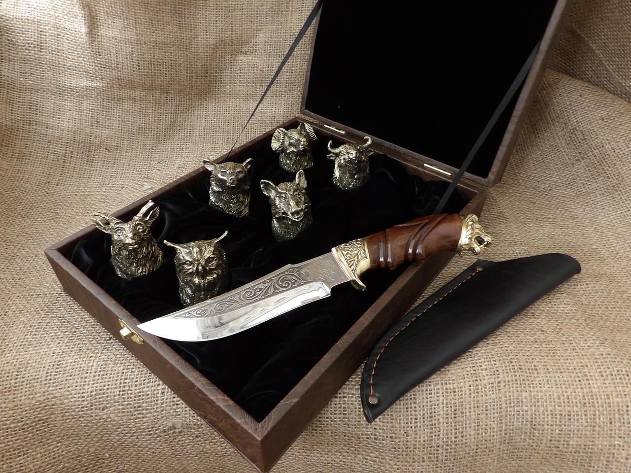 """Набор 6 чарок """"Охотничьих"""" с ножом"""