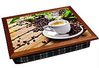Поднос подушка кофе, доски, листья