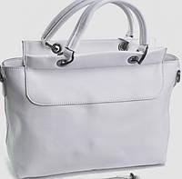 Женская сумка белого цвета из гладкой натуральной кожи