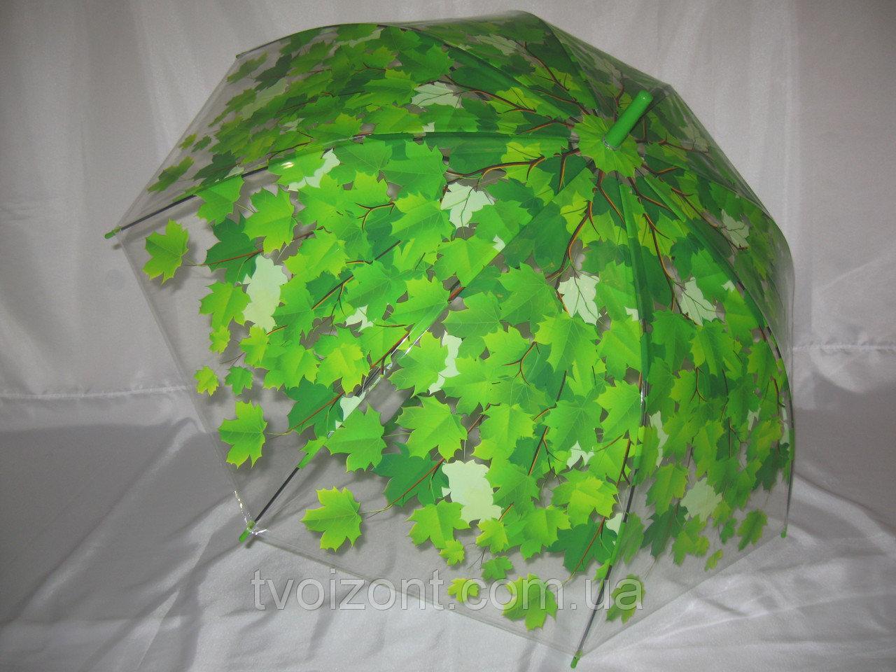 Зонт трость прозрачный глубокий зеленые листья