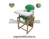 Детский стульчик для кормления For Kids Буковый с пластиковой столешницей - Зеленый