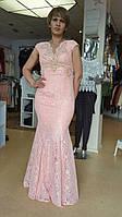 Элегантное длинное нарядное платье Гипюр