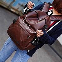 Большой кожаный рюкзак. Унисекс