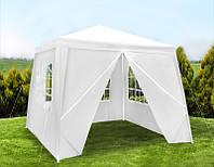 Садовый павильон шатер 3х3 с 4 стенками+окна (белий)