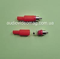 Штекер RCA (тюльпан), пластиковый, цвет красный