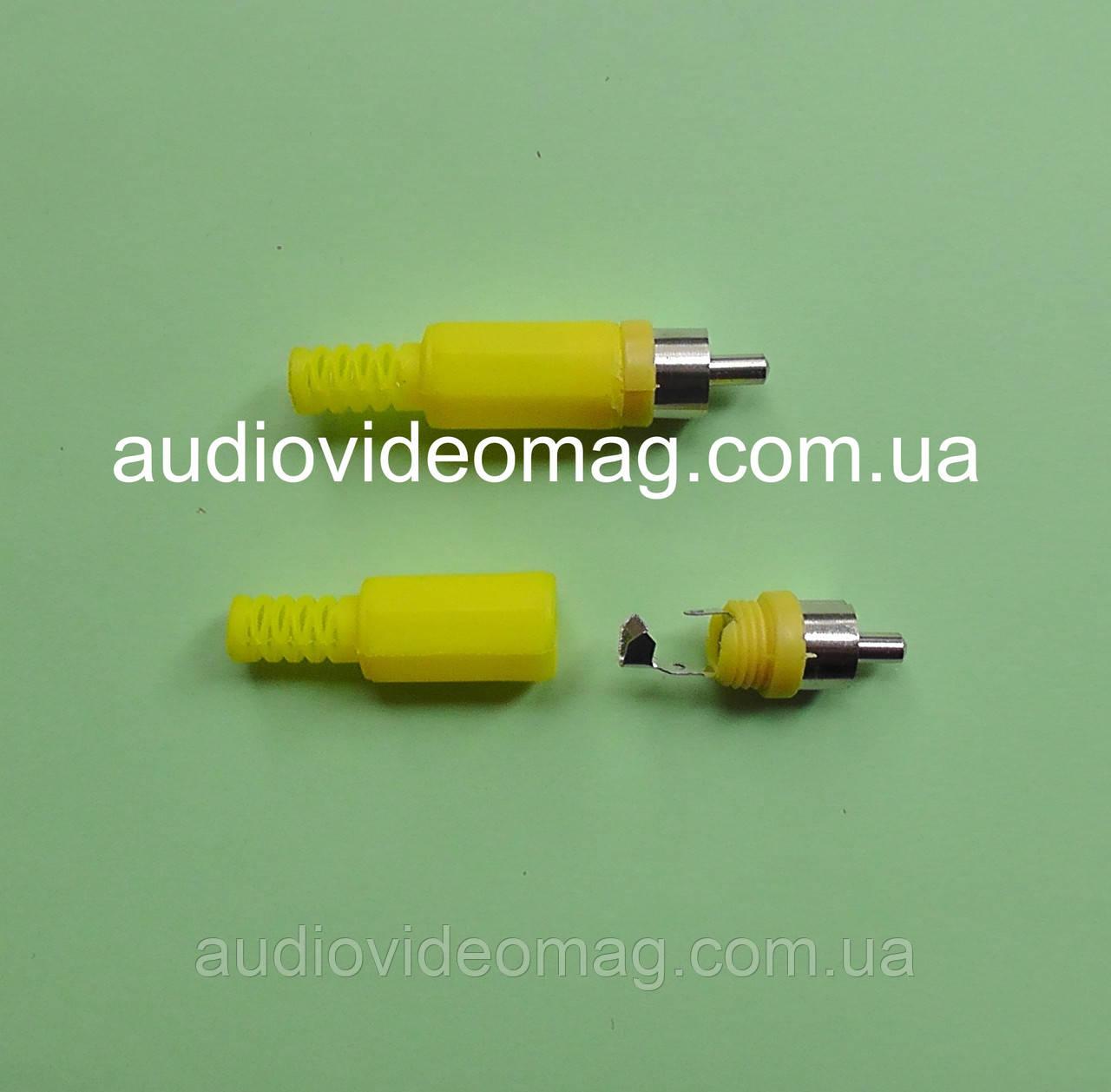 Штекер RCA (тюльпан), пластиковый, цвет желтый