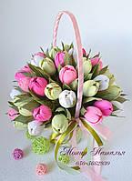"""Букет з цукерок """"Весняні тюльпани""""."""
