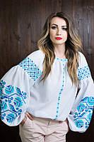 Классическая белая вышиванка с синим орнаментом и пышными рукавами