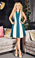 Платье со вставкой жаккарда Фиона изумрудного цвета