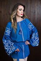 Молодежная вышитая рубашка под пояс, синего цвета, с пышными рукавами