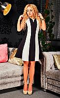 Платье со вставкой жаккарда Фиона черного цвета