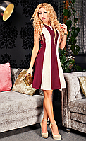 Платье со вставкой жаккарда Фиона марсала