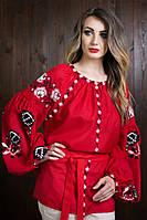 Модная вышивка под пояс, красного цвета
