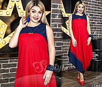 Воздушное платье асимметричного кроя в горчичном/бежевом/красном/бирюзовом цветах.