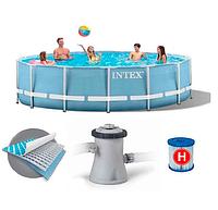 Комплект каркасный бассейн + насос + лестница Intex Prism Frame 28718