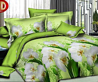 Комплект постельного белья 3D Орхидея салат.- Евро комплект