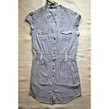 Удлиненная блузка из хлопка в мелкую синюю полоску, фото 2