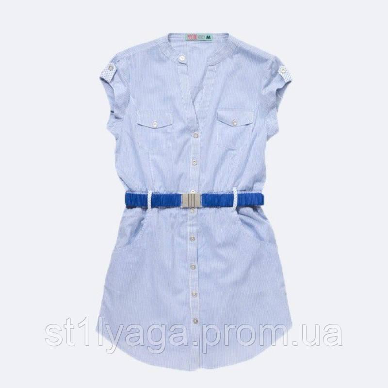 Подовжена блузка з бавовни в дрібну синю смужку