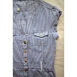 Подовжена блузка з бавовни в дрібну синю смужку, фото 3
