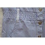 Удлиненная блузка из хлопка в мелкую синюю полоску, фото 4