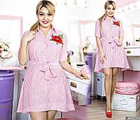 Красивое платье-рубашка А-силуэта в полосатый принт. Платье предоставлено в нежных оттенках.