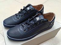 НОВИНКА! Летние мужские туфли из натуральной кожи  EXTREM  POLO/5555 синие