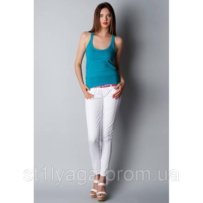Белые зауженные брюки с ремешком ЛЕТО