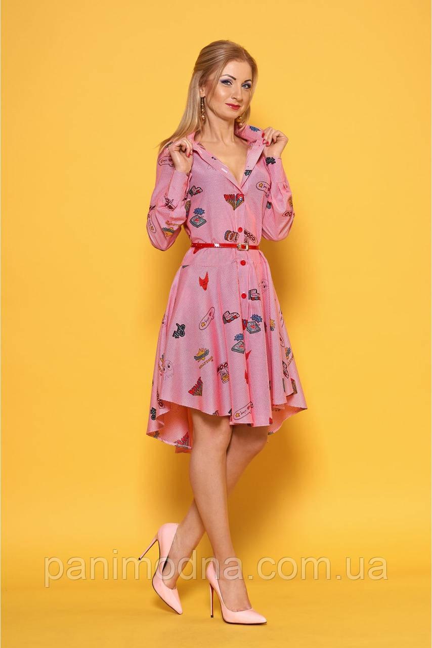"""Стильное платье-рубашка с ярким поясом и модным принтом - """"Келли""""  код 980"""