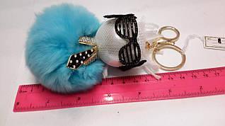 Брелок на сумку/Мин.заказ 2шт/(Кукла в очках) меховой бубон