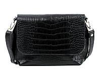 Женская кожаная сумка через плечо 09 HJ Черная