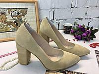 Женские туфли лодочки на толстом обтяжном  каблуке,замша