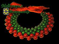 """Намисто """"Кольє"""" (3 рядки зелених, 2 червоних)"""
