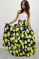 Юбка летняя модная макси в пол из шелка в цветочный принт 2 цвета Udi60