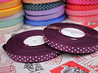 Лента репсовая 0,9 см, белый горох, фон фиолетовый
