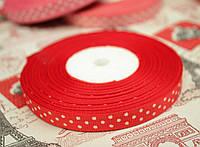 Лента репсовая 0,9 см, белый горох, фон красный