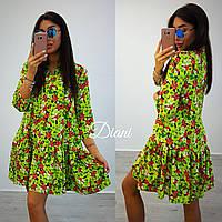 Платье модное яркое с широким воланом по низу летняя костюмка 2 цвета SMdi1382, фото 1