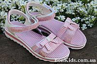 Розовые босоножки для девочки в полоску на липучках тм Том.м р. 36,37