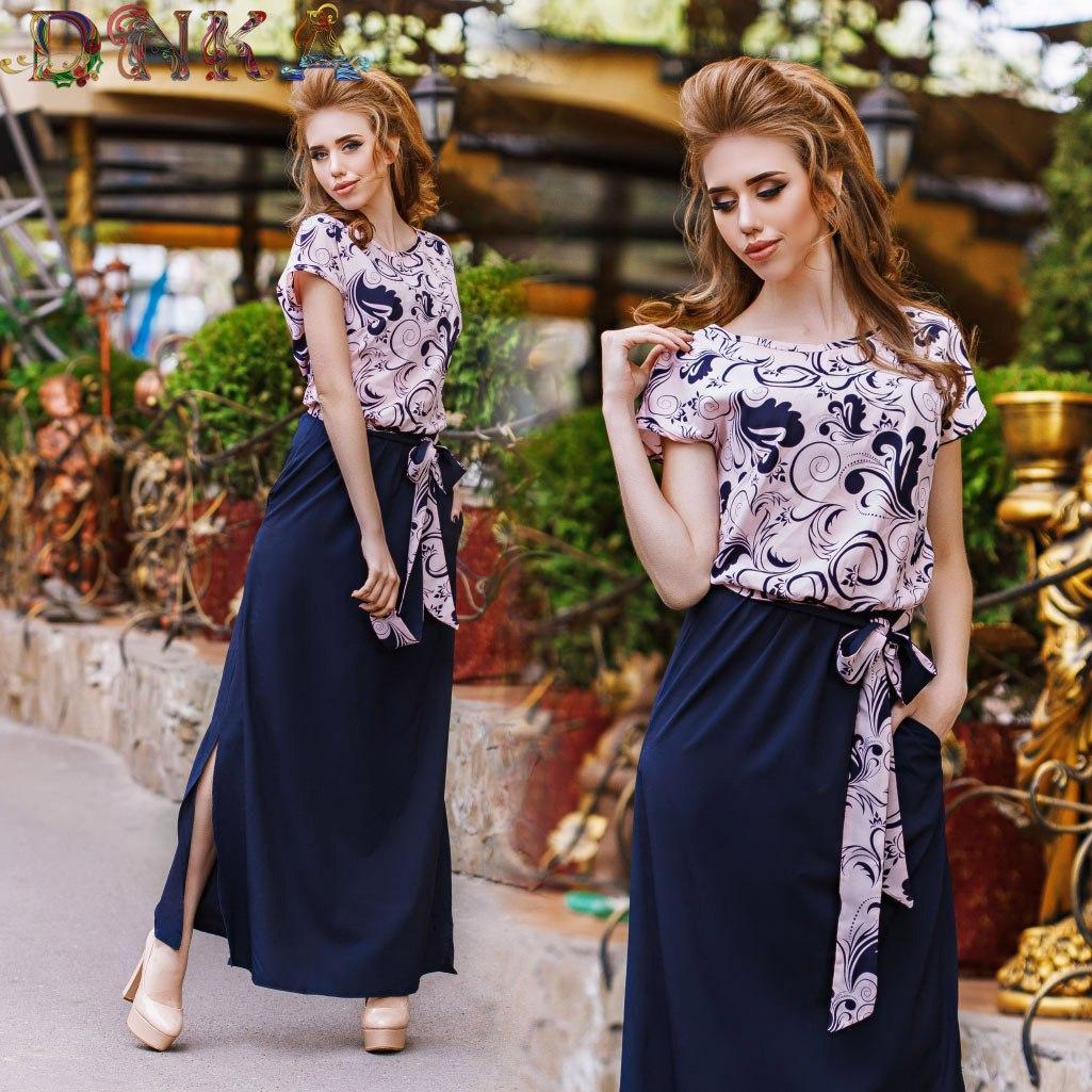 Платье в пол с верхом в узорах
