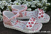 Подростковые босоножки для девочки с красными камням тм Том.м р. 32,34,35,36,37